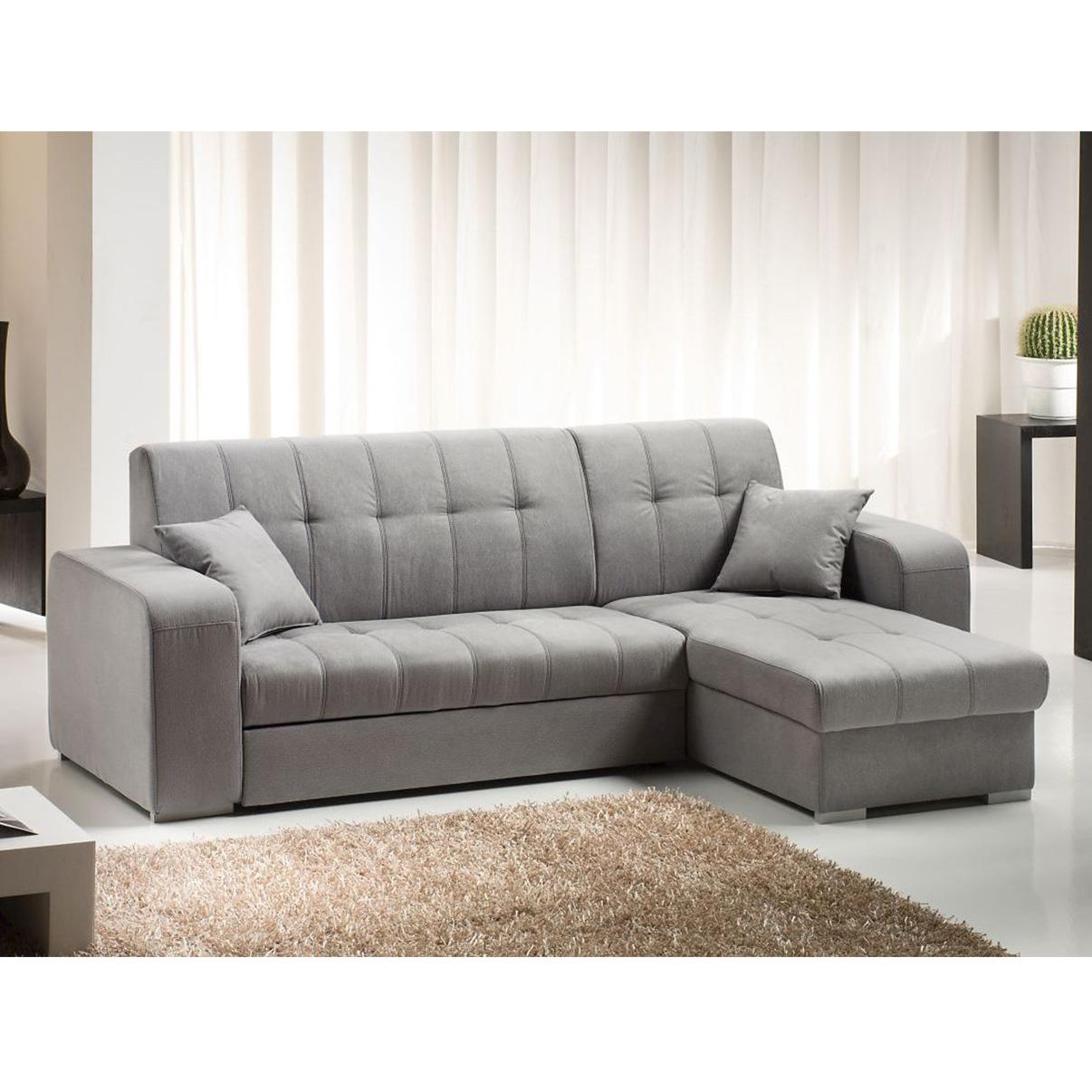 Vanessa divano letto angolare con penisola in tessuto for Divano letto a elle